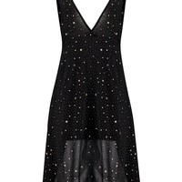 Tanya Metallic Star Print Plunge Neck Skater Dress