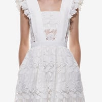 White Lace Flounces Shoulder Hollow Flare Dress -SheIn(Sheinside)