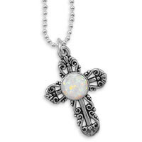 16in Synthetic Opal Filigree Cross Necklace