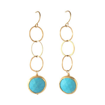 Gold Turquoise Coin Earrings
