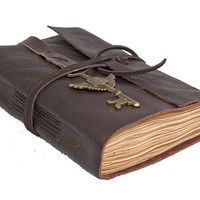 Brown Leather Journal with Tea Stained Pages