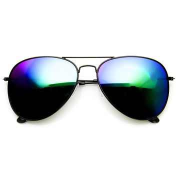 Black Metal Aviator Flash Mirrored Lens Sunglasses 1494 60mm