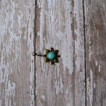 Non Dangle Gold Sun With Turquoise Center Belly Button Ring