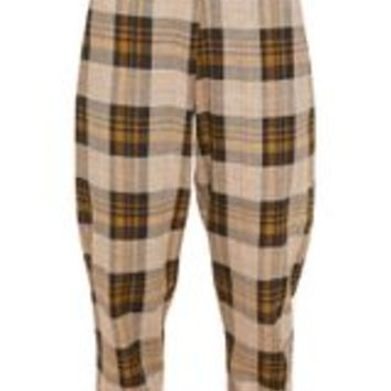 Brown Check Peg Leg Trousers