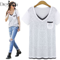2016 Summer New Streetwear T-shirts for Women Tops Fashion Short Sleeve t shirt Plus Size Casual Loose Patchwork Female T-shirt