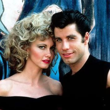 Grease Cast movie poster Sandy And Danny Metal Print 8in x 12in