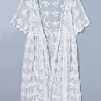 White Collarless Sheer Lace Cover-Up