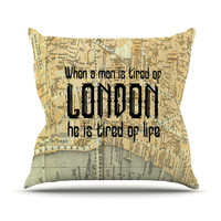 "Alison Coxon ""London Type"" Map Outdoor Throw Pillow"
