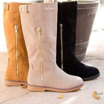 Womens Knee High Boots Flat Round Toe Faux Suede Buckle Boot New Size 6-10