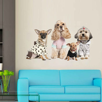 dogs wall Decals dogs in clothes wall decor dogs Full Color wall Decals dog shop Decor veterinary clinic decor for kids room cik2240