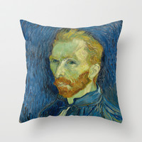 Vincent van Gogh - Self-Portrait Throw Pillow by TilenHrovatic