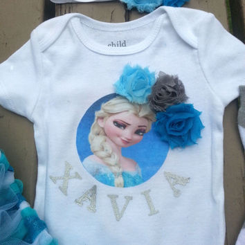 Elsa Frozen Tutu Outfit - Disney Inspired - Personalized Frozen Birthday Outfit - Girls Elsa Outfit