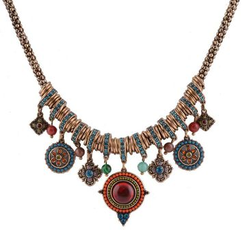 Vintage Bohemia Style Fashion Jewelry Gold-color Round Shape Colorful Resin Stone&Beads Pendants Statement Necklace for Women