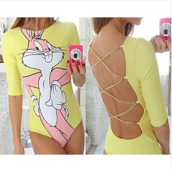 HEYounGIRL 2016 cartoon rabbit print women jumpsuit summer sexy backless Metal chain female fitness  rompers 3 colors jumpsuits