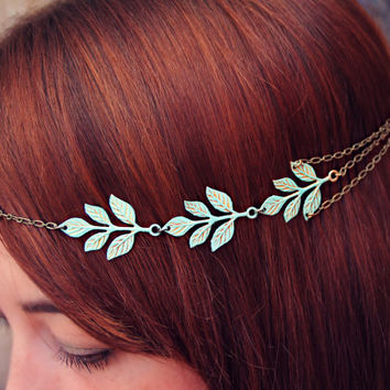 Patina leaves head chain, chain headband, grecian headband, metal headband, unique headband