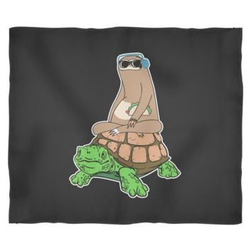 Sloth Riding Turtle Fleece Blanket