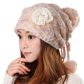 Winter Beanie Cute Warm Kawaii Tight Knitted Faux Fur Hat