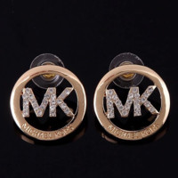 MICHAEL KORS MK New fashion round diamond letter earring accessories Golden