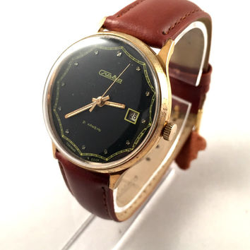 "RARE dial Vintage men's watch called ""SLAVA"" / eng""GLORY"". Lovely black dial, mechanical Soviet watch. Comes with new leather band!"