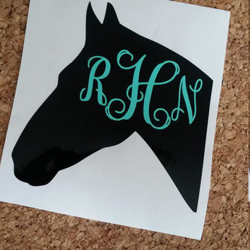Horse Monogram | Horse Decal | Barrel Racing Decal | Horse Lover | Farm Decal | Truck Decal | Horse Lover Decal | Monogram | Decal