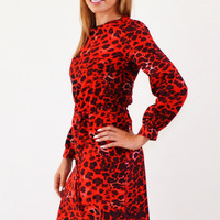Dare Red Leopard Midi Modest Dress