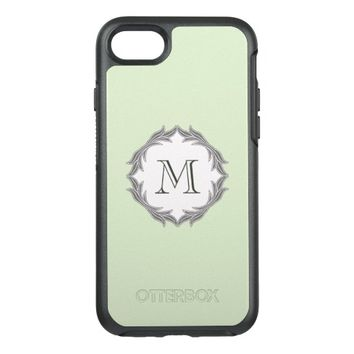 Monogram Floral Leaves Pattern Frame Light Green OtterBox Symmetry iPhone 7 Case
