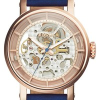 Women's Fossil 'Boyfriend' Skeleton Dial Leather Strap Watch, 38mm - Blue/ Rose Gold