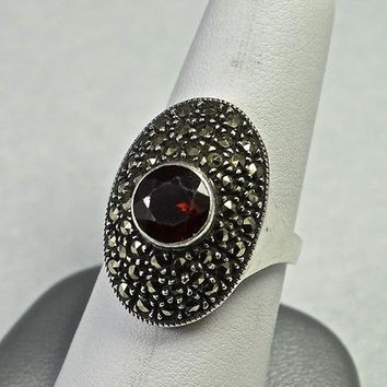 Estate Sterling Silver Marcasite and Garnet Ring 925 Handmade Jewelry