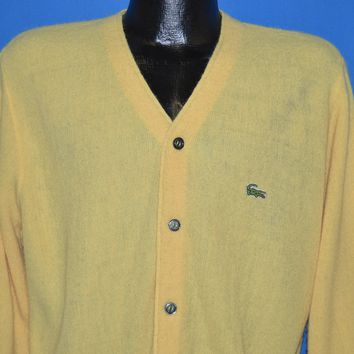 70s Yellow Izod Lacoste Cardigan Sweater Small