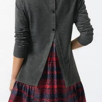 Grey Patchwork Buttons Draped Peplum Back Slit Long Sleeve Cute T-Shirt