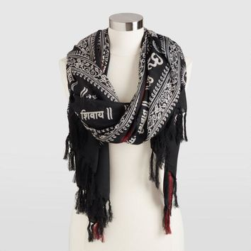 Black Prayer Shawl with Red and Ivory Border