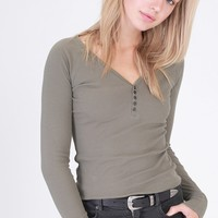 Olive Ribbed Long Sleeve Henley (final sale)