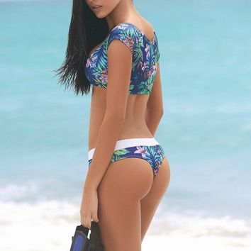 Tropical Cropped Bikini Set