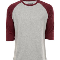 Red and Grey Jersey Knit Baseball Tee