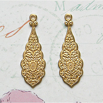 Raw Brass Etched Victorian Floral Drop Stamping 10mm x 30mm - 4 pcs.