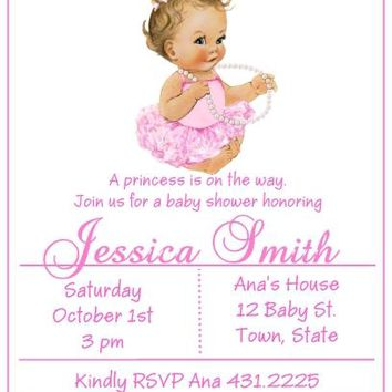 10 Princess Baby Shower Invitations Light Skin