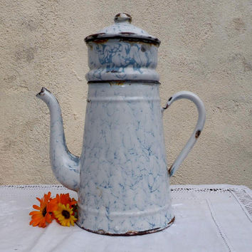 Vintage French enamel coffee pot, enamelware, french coffee pot, french country kitchen, cottage chic, french farmhouse, shabby chic