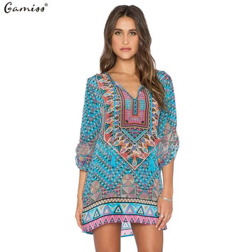 Gamiss 2016 Spring Summer Women Vintage Ethnic Dress Brand Baroque Style Floral Print Casual Beach Dress Boho Hippie Vestido