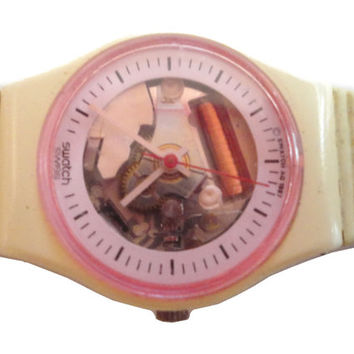 vintage 1988 SWATCH Watch White Lady LW111 minimal 80s MTv steampunk ladies