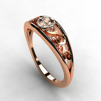 Imperial topaz filigree engagement ring, rose gold, white gold, unique, pink topaz wedding, two tone engagement ring, vintage style, topaz