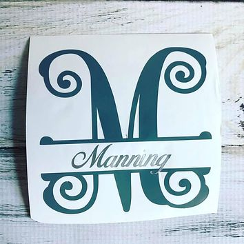 Split letter monogram vinyl decal