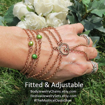 Emerald Pearl Wedding Jewelry Slave Bracelet Hand Chain, Bracelet Ring, copper ring bracelet, Anniversary gifts for women, hand bracelet