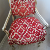 French Hibriten Arm Chair Floral Fabric Gilt Decoration