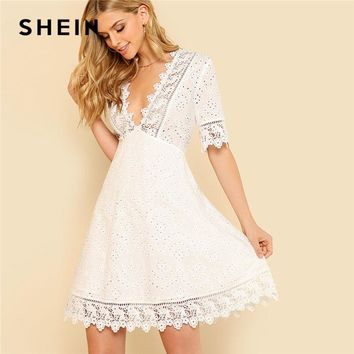 SHEIN Lace Trim Eyelet Embroidered Dress Women White Deep V Neck Half Sleeve Cut Out Plain Dress Summer Sexy Cotton Dress