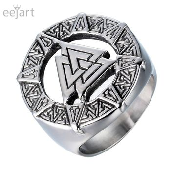eejart  Punk Stainless Steel Band Finger Ring Ancient The Vikings Valknut Knot Nordic Scandinavian Norse Odin Symbol Jewelry