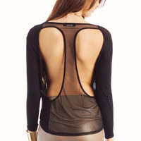 mesh-back-top BLACK CHARCOAL IVORY - GoJane.com