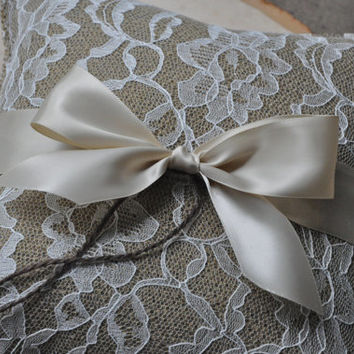 Dark Burlap and Lace Ring Bearer Pillow with Ribbon - Rustic Ring Bearer Pillow - Woodland Ring Bearer Pillow