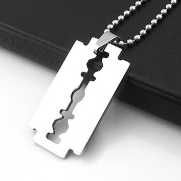 2015 hot sell Creative Men's Stainless Steel Razor Pendant Silver Color Ball Blade Chain Necklace 56CU