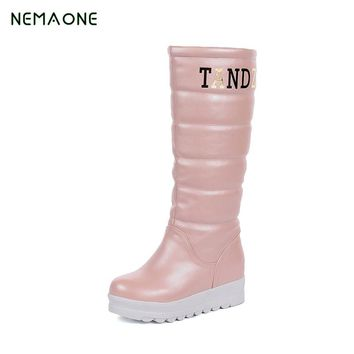 NEMAONE 2018 fashion waterproof snow boots women's knee high boots flat winter boots platform fur shoes women size 34-43