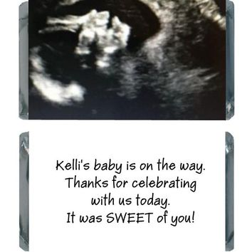 18 Add Your Sonogram Baby Shower Miniature Chocolate Bar Wrappers